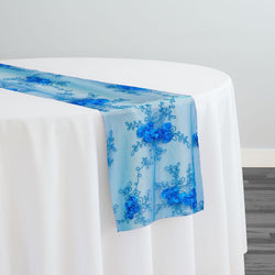 Baby Rose Embroidery Table Runner in Turquoise