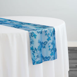 Basil Leaf Embroidery Table Runner in Turquoise