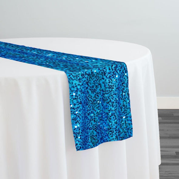 Taffeta Sequins Table Runner in Turquoise