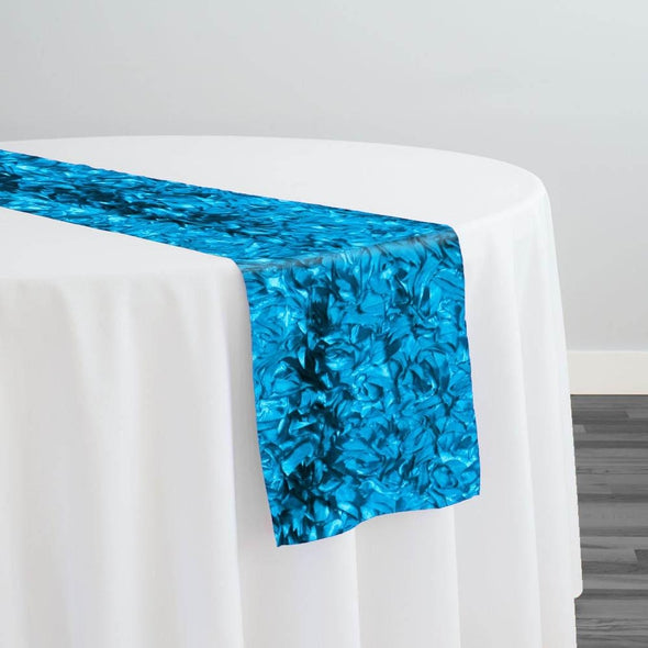 Curly Satin Table Runner in Turquoise