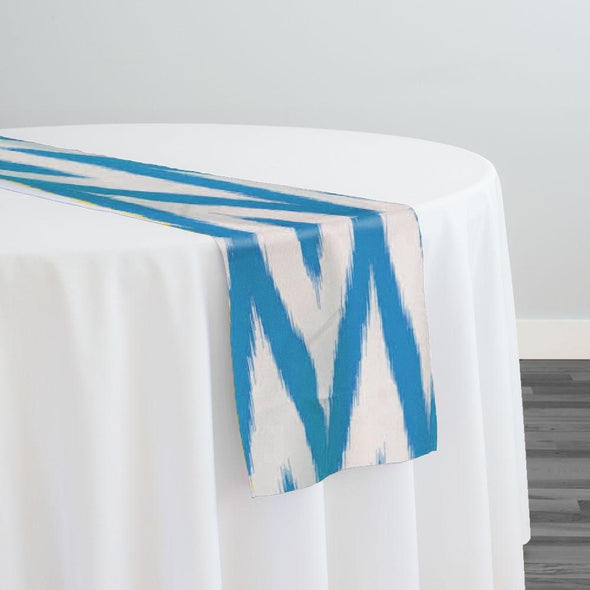 Horizon Poly Print Table Runner in Turquoise
