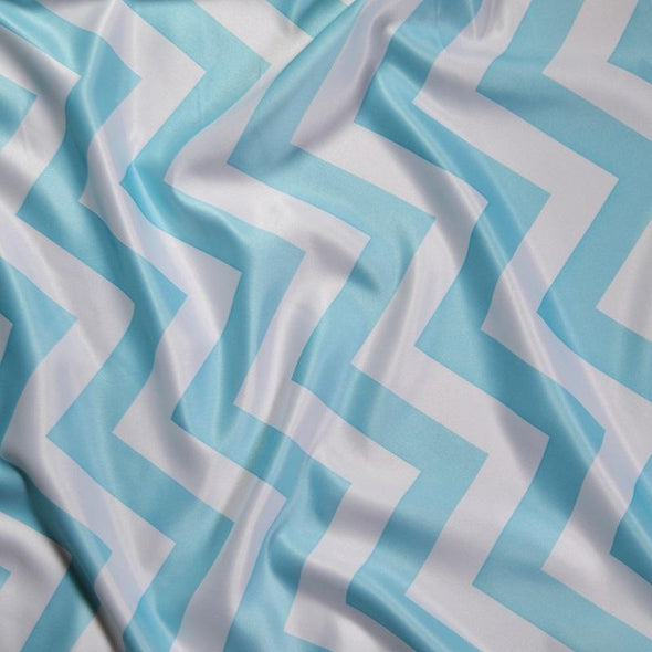 Chevron Print (Lamour) Table Linen in Turquoise and White