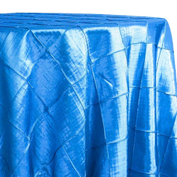 "4"" Pintuck Taffeta Table Linen in Turquoise 112"