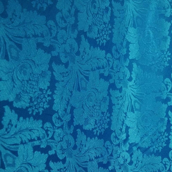 Damask Poly Table Runner in Turquoise 1140