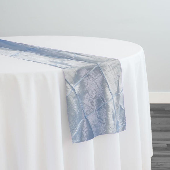 "4"" Pintuck Taffeta Table Runner in Turquoise Light"