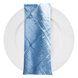 "4"" Pintuck Taffeta Table Napkin in Turquoise Light"