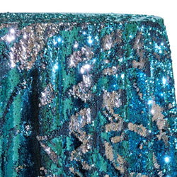 Two-Tone Sequins Table Linen in Turquoise and Silver