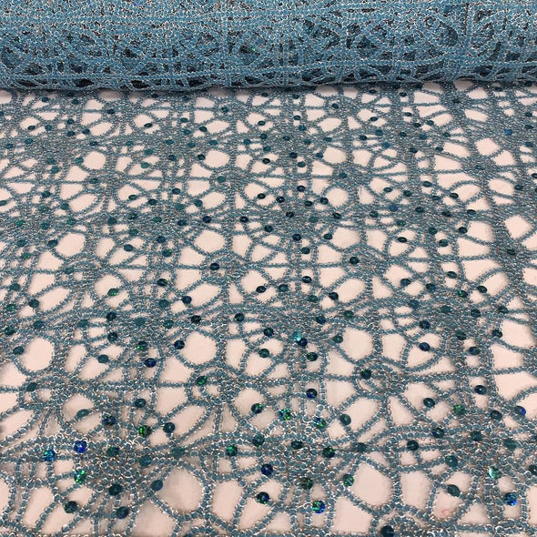 Flower Chain Lace (w/ Poly Lining) Table Napkin in Turquoise and Silver