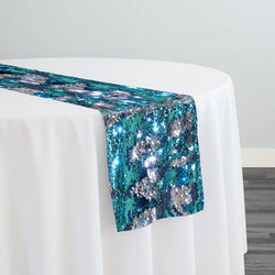 Two-Tone Sequins Table Runner in Turquoise and Silver