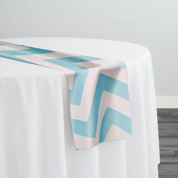 Chevron Print (Lamour) Table Runner in Turquoise and White