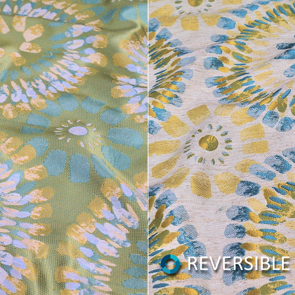 Sundaze Jacquard (Reversible) Wholesale Fabric in Turquoise and Yellow