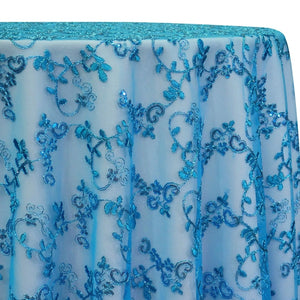 Basil Leaf Embroidery Table Linen in Turquoise