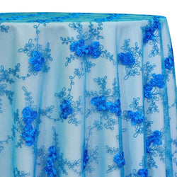 Baby Rose Embroidery Table Linen in Turquoise