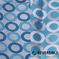 Mosaic Jacquard (Reversible) Table Runner in Turquoise and Silver