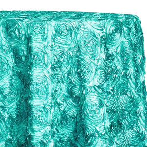 Rose Satin (3D) Table Linen in Turquoise/L