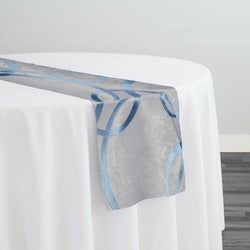 Cirque Jacquard (Reversible) Table Runner in Turquoise