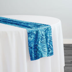 Austrian Wave Satin Table Runner in Turquoise