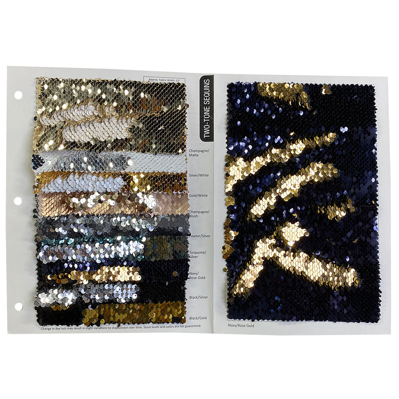 Two-Tone Sequins Wholesale Fabric in Gold and White