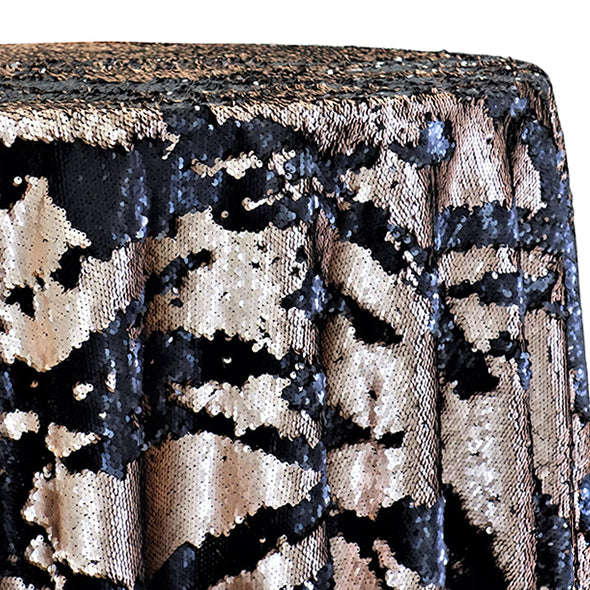 Two-Tone Sequins Table Linen in Champagne and Black