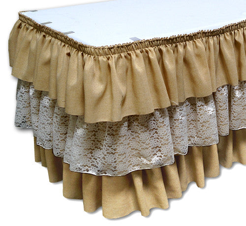Burlap and Lace Combo - Table Skirt (No Topper)
