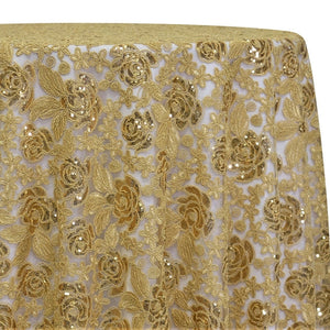 Valentina Lace Table Linen in Gold