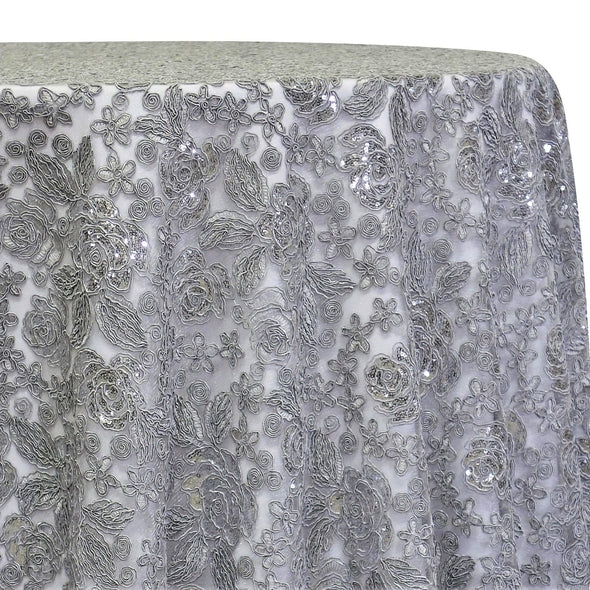 Valentina Lace Table Linen in Silver
