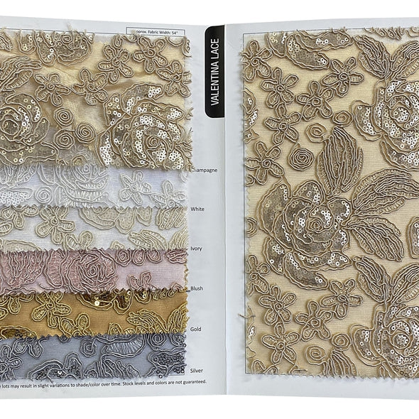 Valentina Lace Wholesale Fabric in Silver