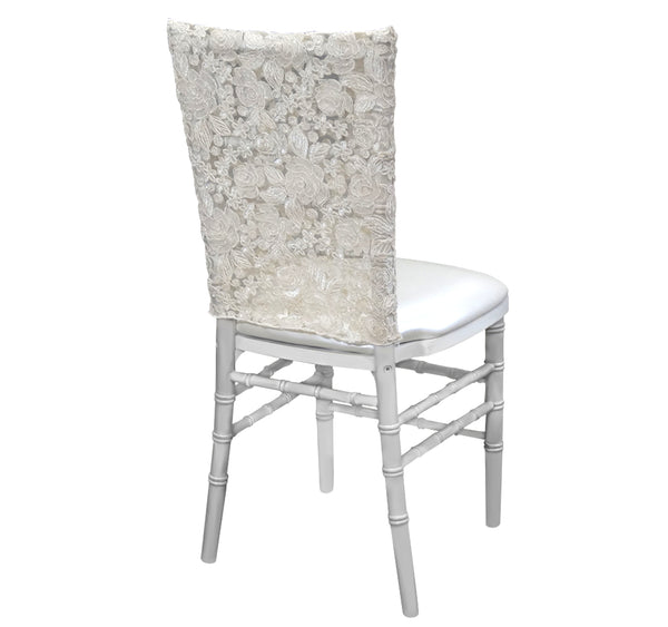 Valentina Lace Half Chair Back - Ivory