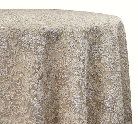 "Valentina Lace - Champagne 120"" Round Wedding Wedding Tablecloth"