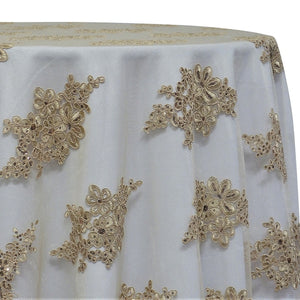 Venetian Lace Table Linen in Taupe