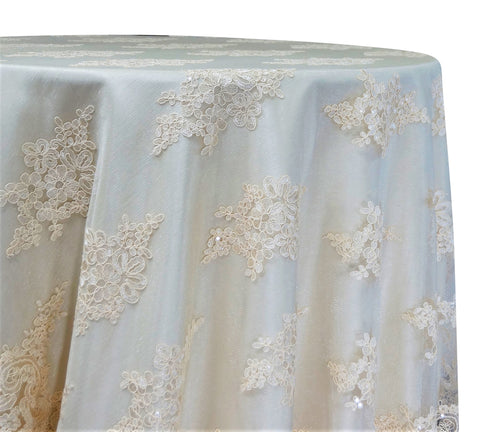 "Venetian Lace - Ivory 120"" Round Wedding Tablecloth"
