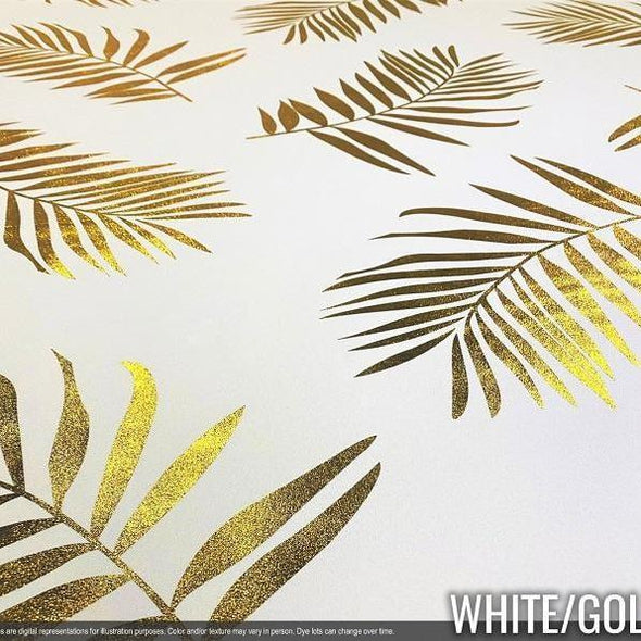 Leaf (Metallic Print) Wholesale Fabric in White and Gold
