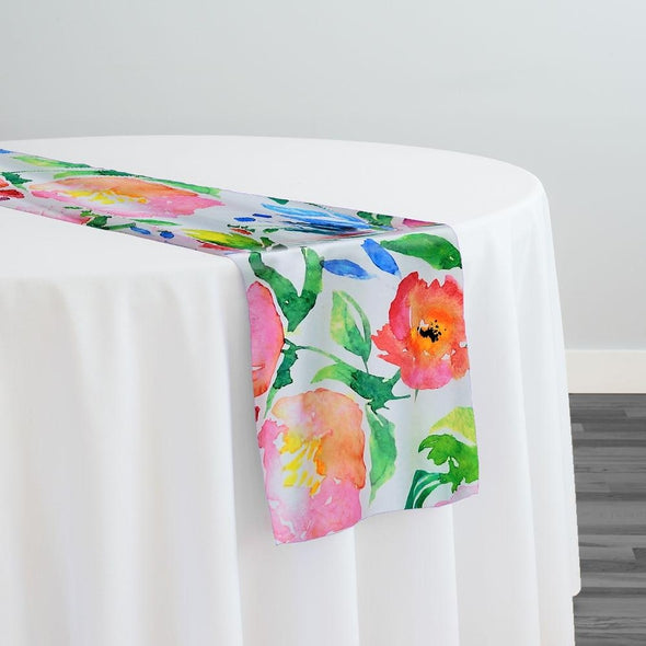 Watercolor Bouquet (Poly Print) Table Runner