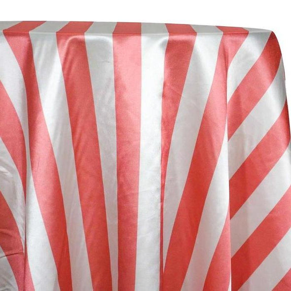 "2"" Satin Stripe Table Linen in White and Coral"