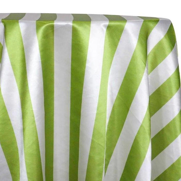 "2"" Satin Stripe Table Linen in White and Moss"