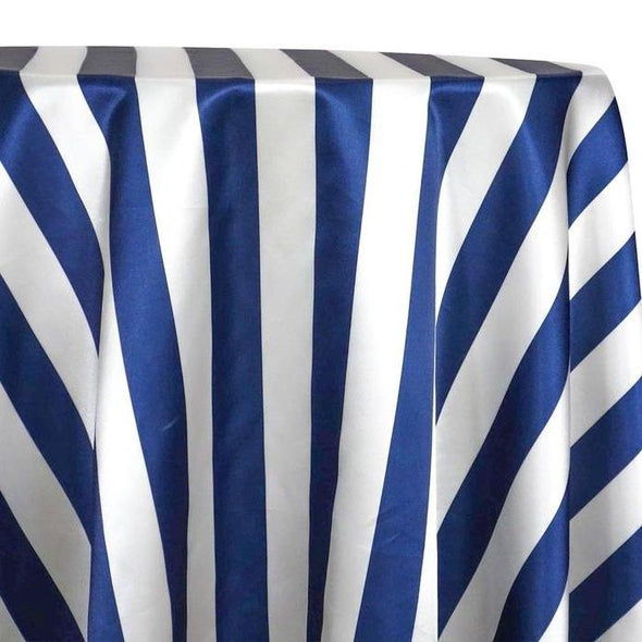 "2"" Satin Stripe Table Linen in White and Navy"