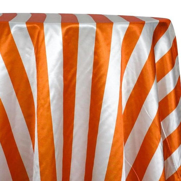"2"" Satin Stripe Table Linen in White and Orange"