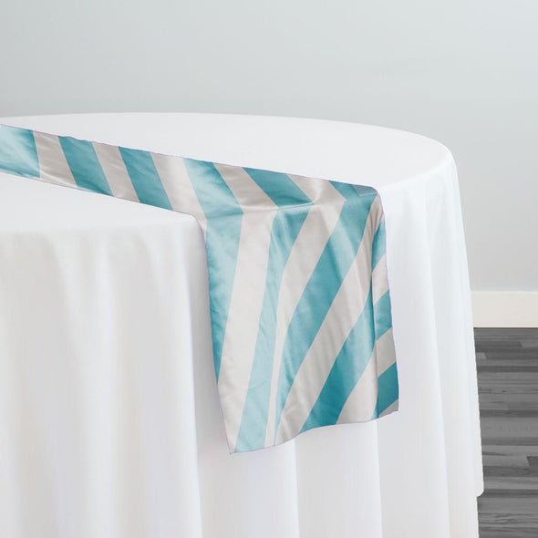 "2"" Satin Stripe Table Runner in White and Aqua"