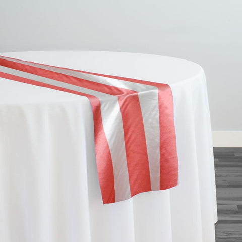 "2"" Satin Stripe Table Runner in White and Coral"