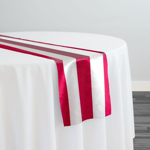 "2"" Satin Stripe Table Runner in White and Fuchsia"
