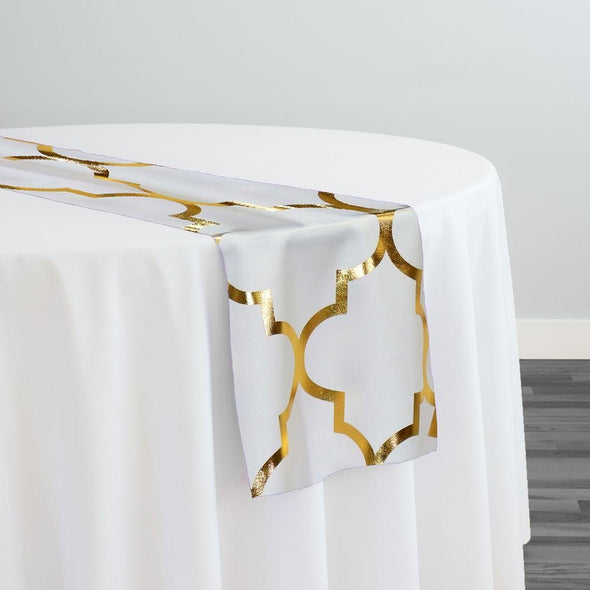 Gatsby (Metallic Print) Table Runner in White and Gold