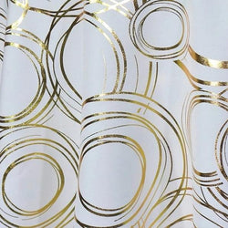 Orbit (Metallic Print) Table Linen in White and Gold