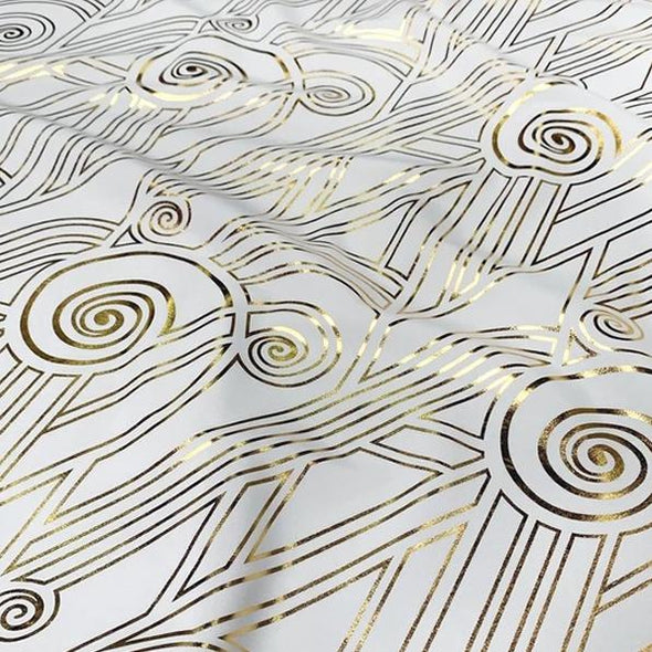 Luxor (Metallic Print) Table Linen in White and Gold