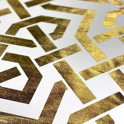 Majestic (Metallic Print) Table Linen in White and Gold