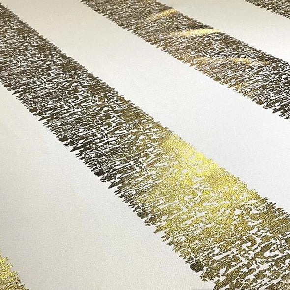 Stripe (Metallic Print) Table Runner in White and Gold