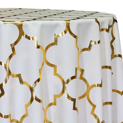Gatsby (Metallic Print) Table Linen in White and Gold