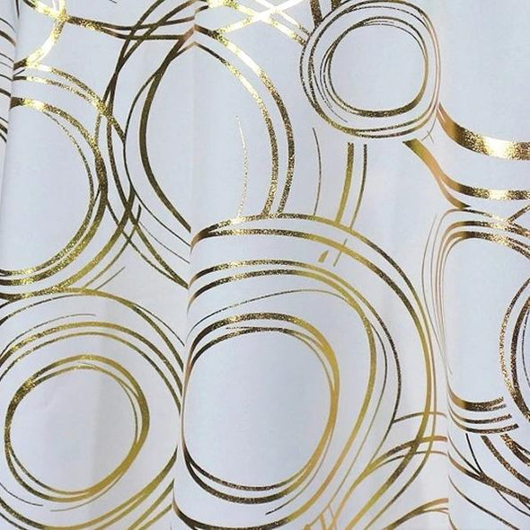 Orbit (Metallic Print) Table Runner in White and Gold
