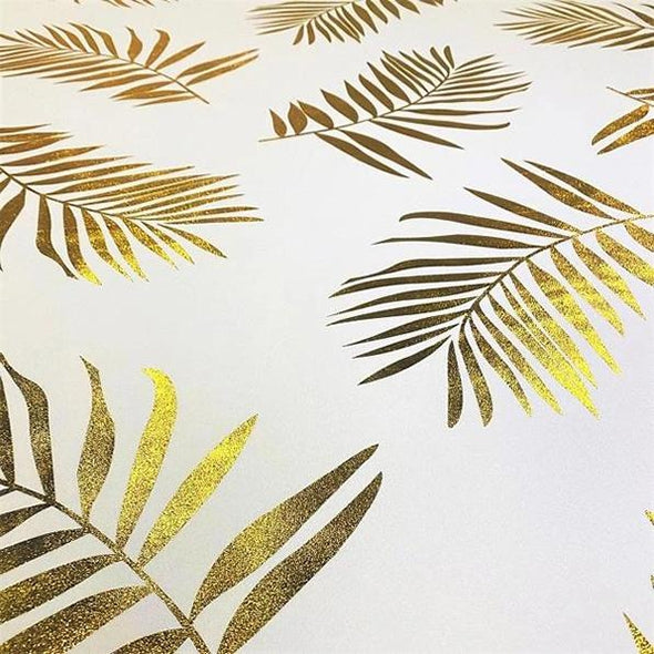 Leaf (Metallic Print) Table Linen in White and Gold