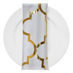 Gatsby (Metallic Print) Table Napkin in White and Gold