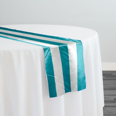"2"" Satin Stripe Table Runner in White and Jade"